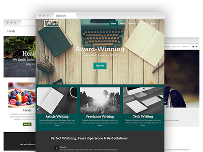 A variety of fully customizable website themes